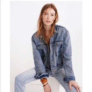 Madewell boxy-crop jean jacket in woodcourt